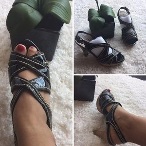 Shoes - Black Strappy Cork Heels